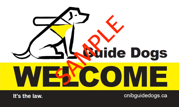 "Sample of the decal with a drawing a a guide dog and the text ""Guide Dogs Welcome. It's the law"""