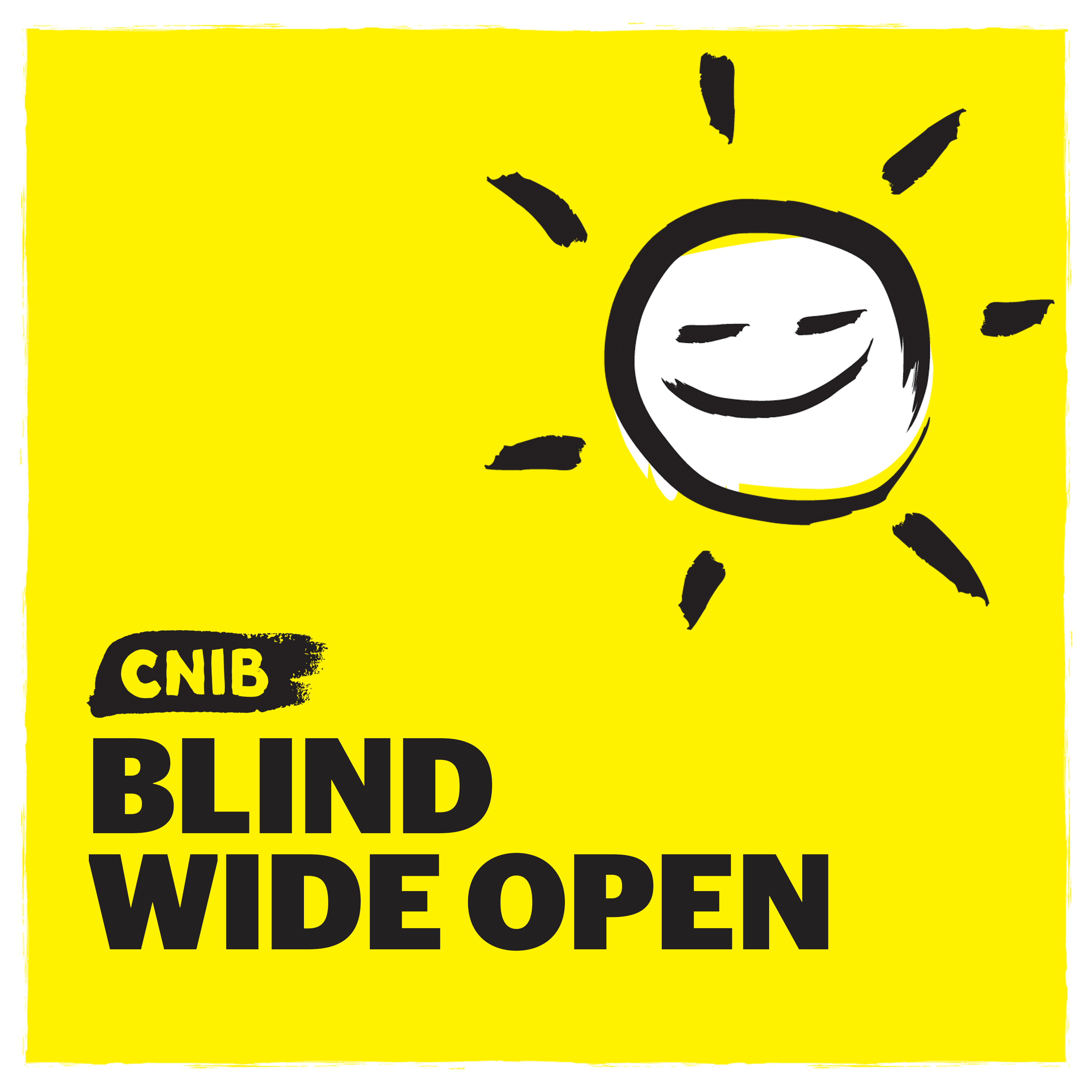 """CNIB Blind Wide Open"" with sun icon on yellow."