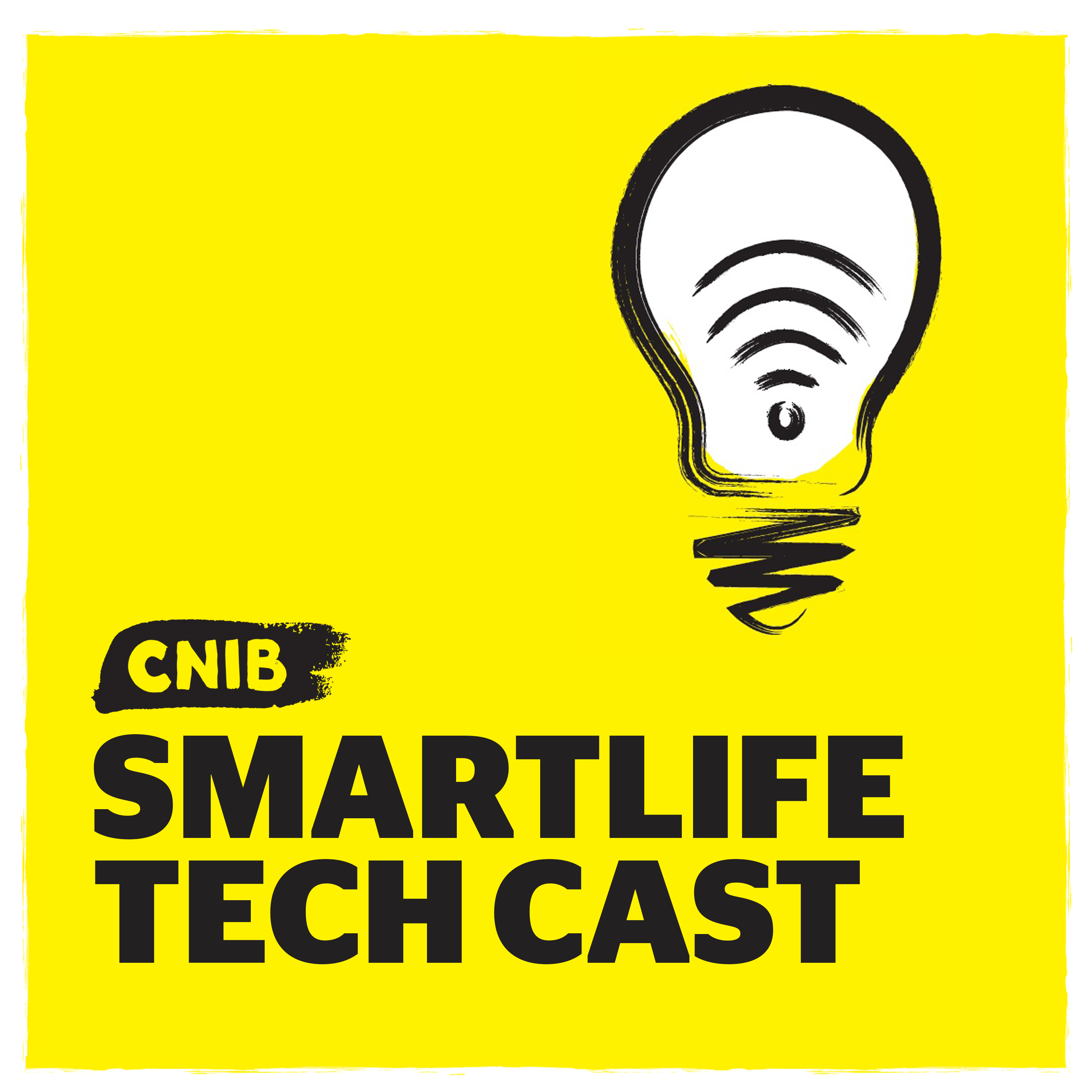 """CNIB SmartLife Tech Cast"" with light bulb icon on yellow."