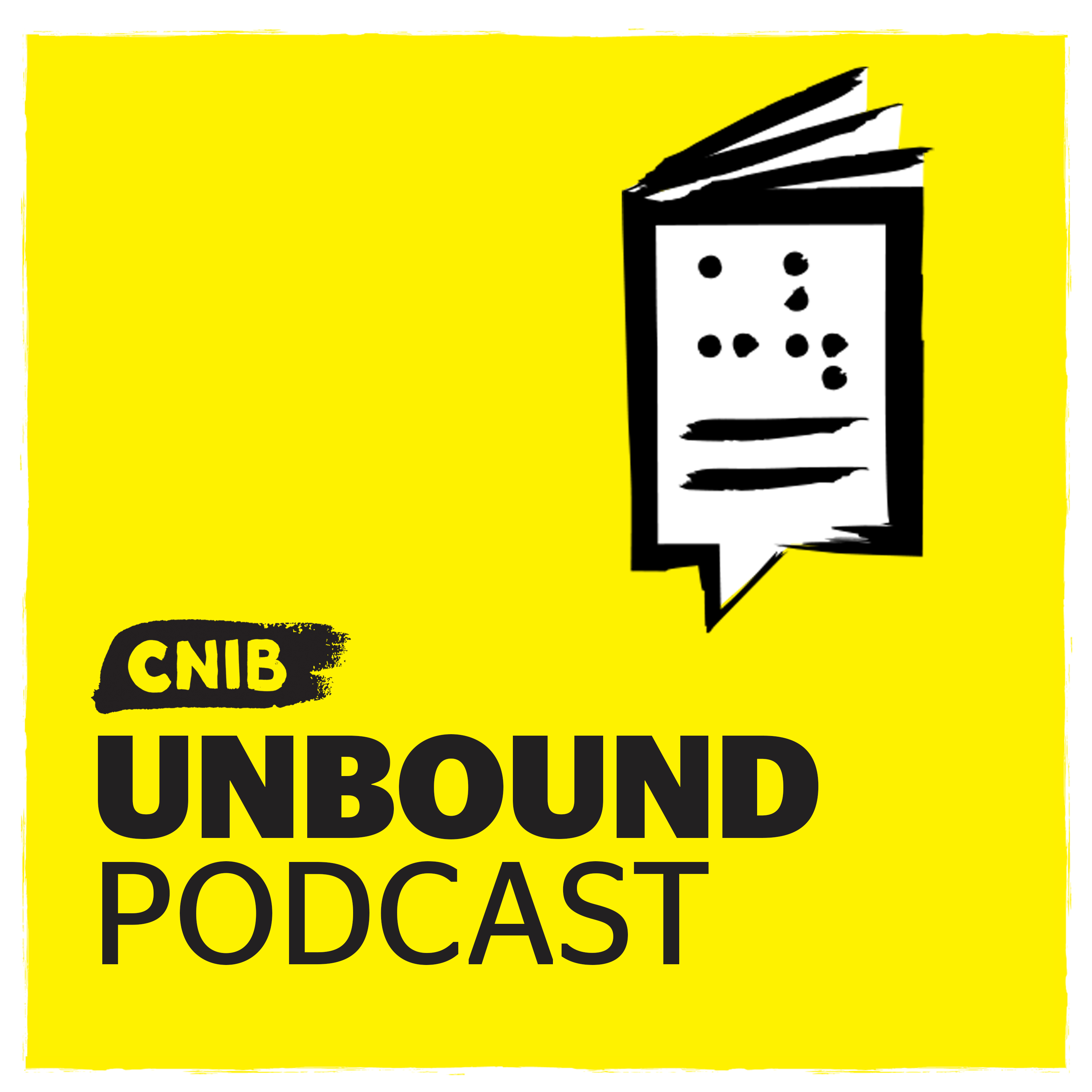 """CNIB Unbound"" with braille book/speech bubble icon on yellow."