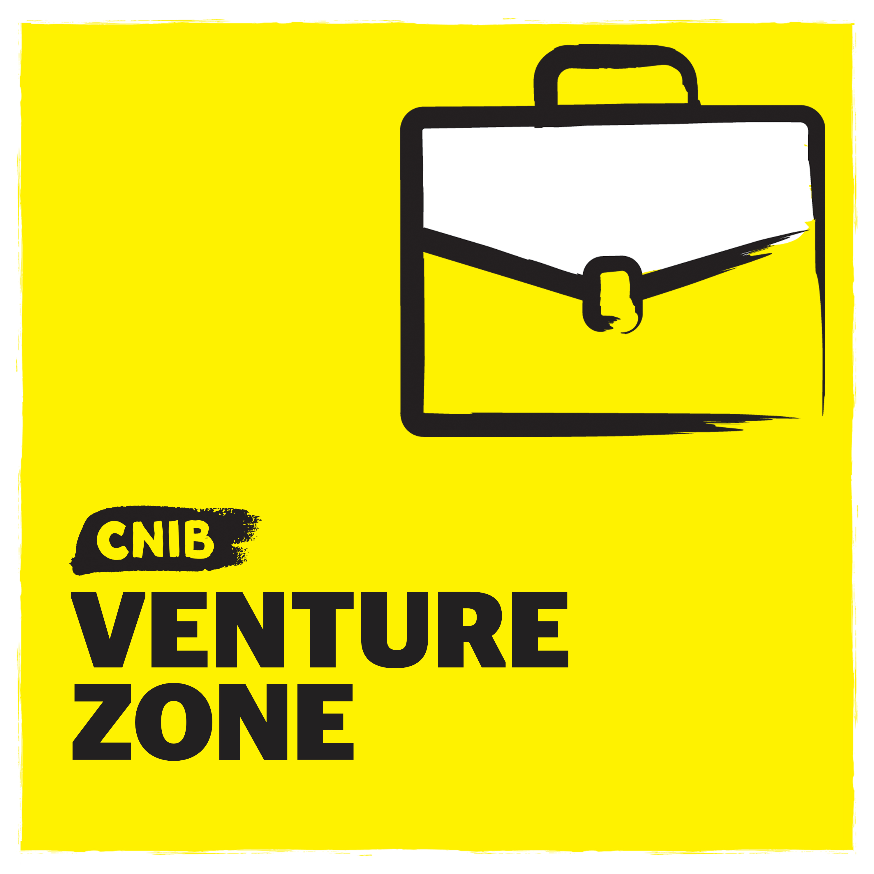 """CNIB Venture Zone"" with breifcase icon on yellow."