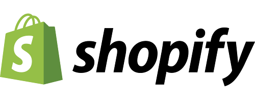 Shopify Logo. An illustration of a green shopping bag. Text: Shopify.