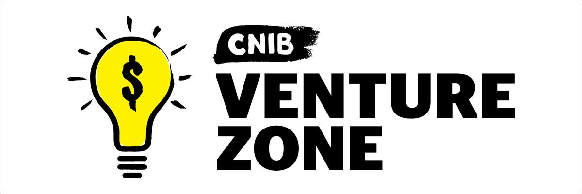 "Illustration of the Venture Zone  logo, which displays a bright yellow lightbulb with a dollar sign placed over it next to the words ""CNIB Venture Zone"""