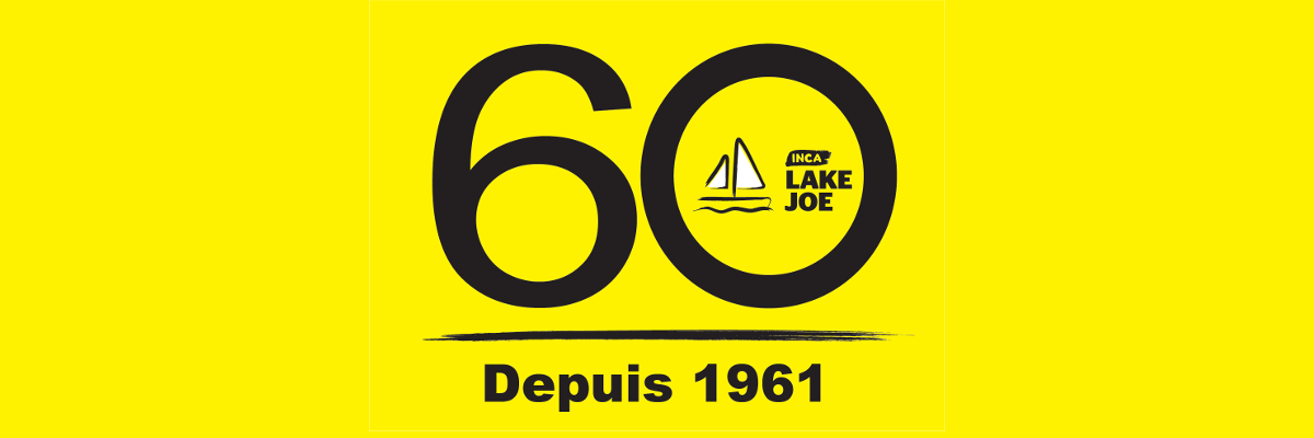 "CNIB Lake Joe 60 logo. A large ""6"" and ""0"" with the CNIB Lake Joe sailboat logo inside the ""0"". Text: Est 1961"
