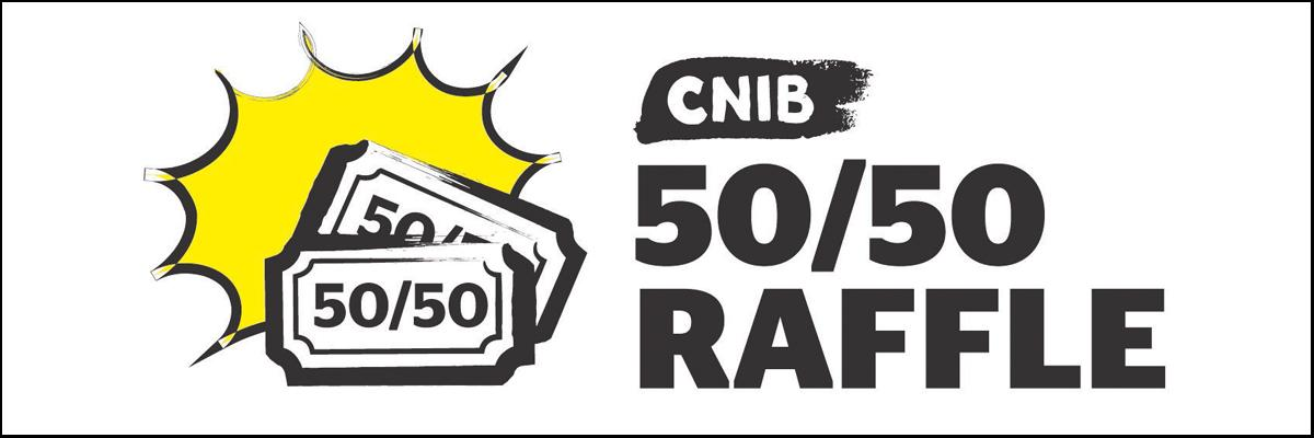 "A yellow starburst with two raffle tickets and the words ""CNIB 50/50 Raffle""."