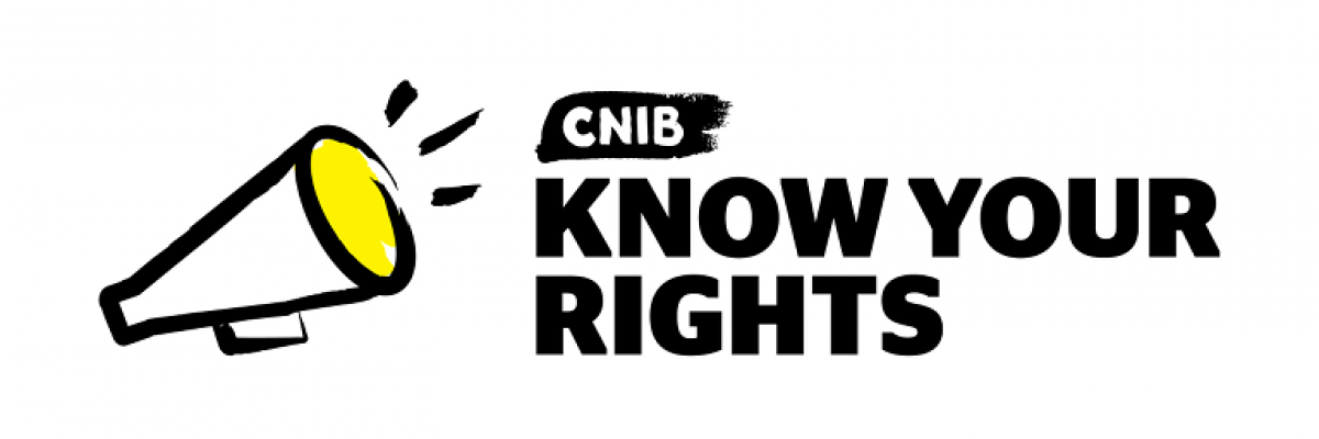 "An illustration of a megaphone. Text ""Know Your Rights."""