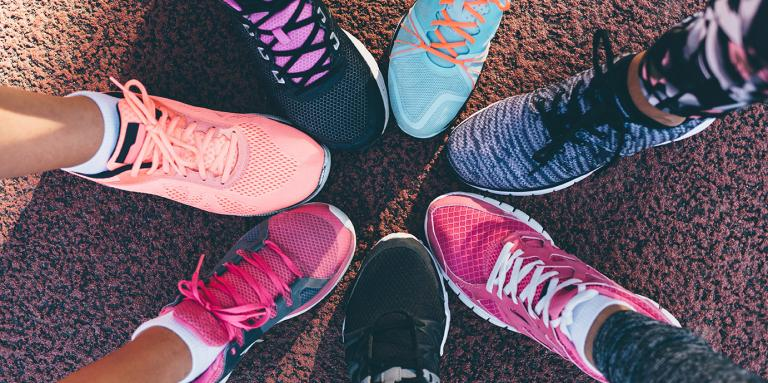 Running shoes forming a circle