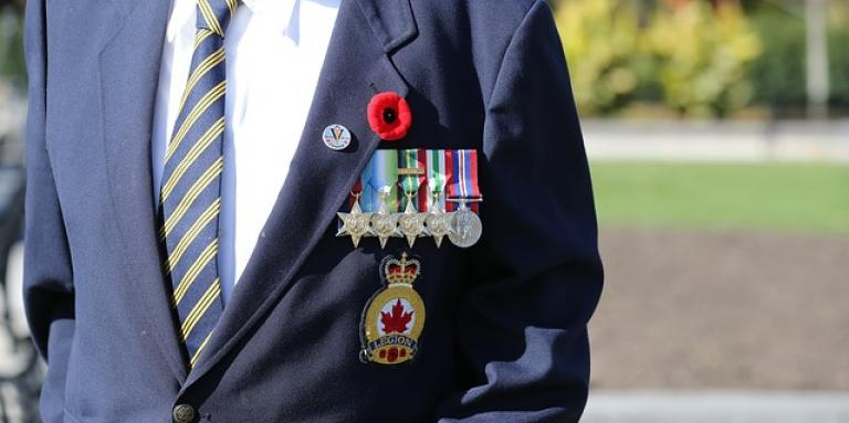 Military personnel. A navy jacket with military pins, badges and a poppy on the lapel.
