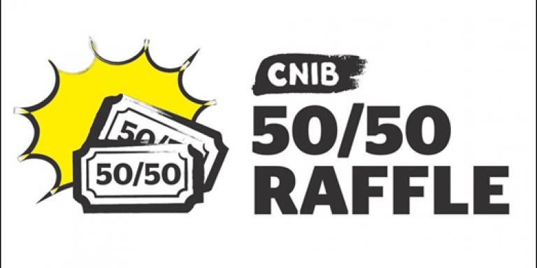 "A yellow starburst, two tickets and the words ""CNIB 50/50 Raffle""."