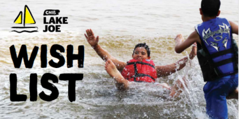 Two young boys run and splash in a lake. They are wearing life jackets. Text: CNIB Lake Joe Wish List