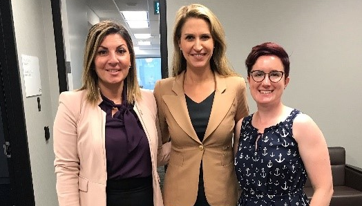 CNIB Foundation staff Angela Bonfanti, Vice President (Ontario and Quebec) and Kat Clarke, Manager, Advocacy and Government Affairs (Ontario and Quebec) with Ontario Minister of Transportation, Caroline Mulroney.